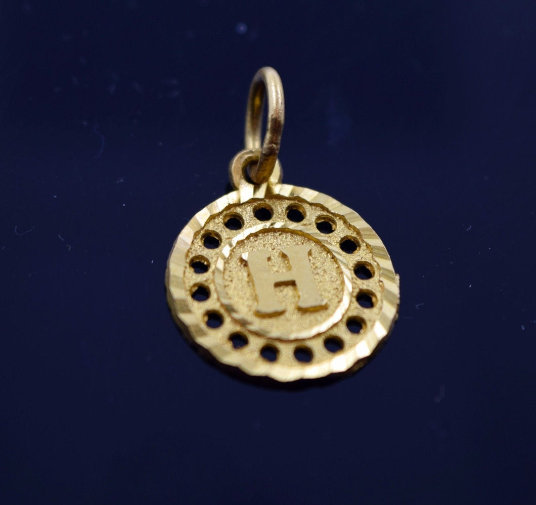 22k 22ct Solid Gold Round Shape Pendent H letter ph4 - Royal Dubai Jewellers