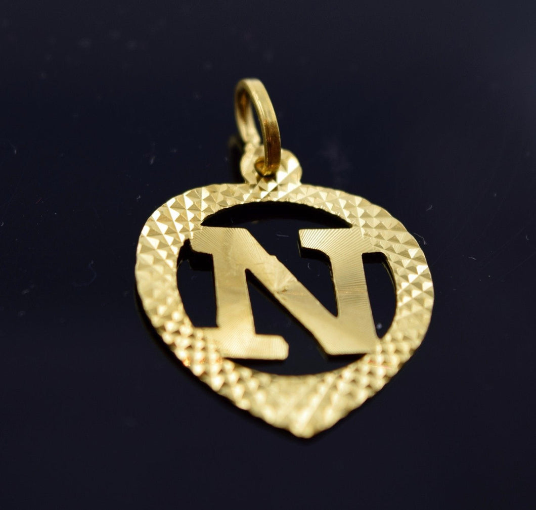 22k 22ct Solid Gold Heart Shape Pendent N letter pn6 - Royal Dubai Jewellers