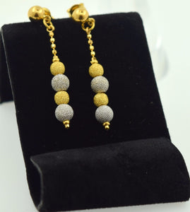 22k 22ct solid gold ELEGANT Long EARRINGS DANGLING HANGING FREE BOX E447 - Royal Dubai Jewellers