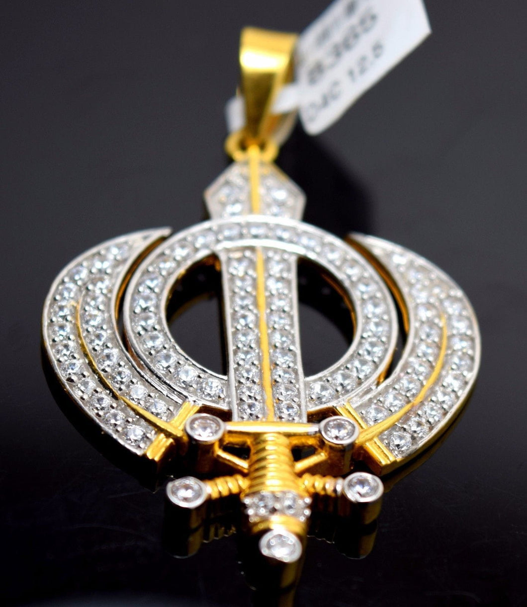 22k 22ct Solid Gold Sikh Singh Punjabi SIKHI KHANDA 3D Raised Round Pendant 8365 - Royal Dubai Jewellers