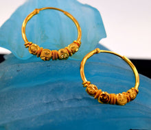 22k 22ct Solid Gold FANCY BALL BEADS DESIGN HOOP BALI EARRINGS with BOX E2004 - Royal Dubai Jewellers