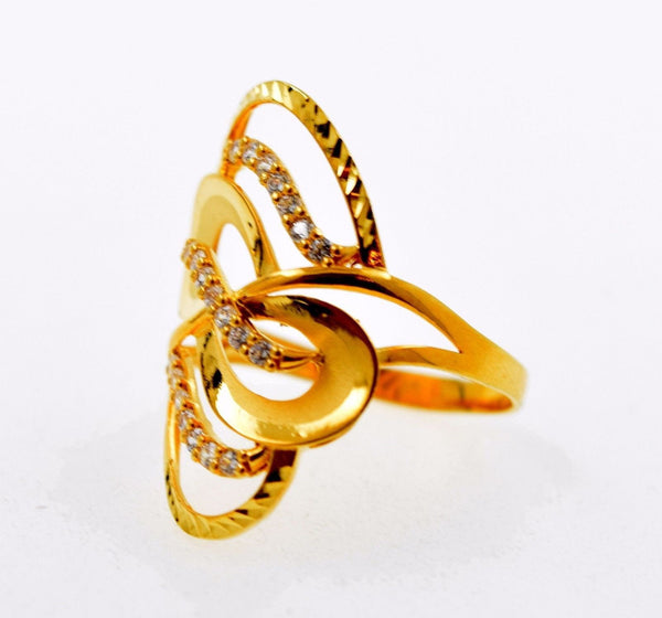 "22k 22ct Solid Gold Elegant STONE BAND Ring size 9.2 ""FREE RESIZABLE"" r636 - Royal Dubai Jewellers"