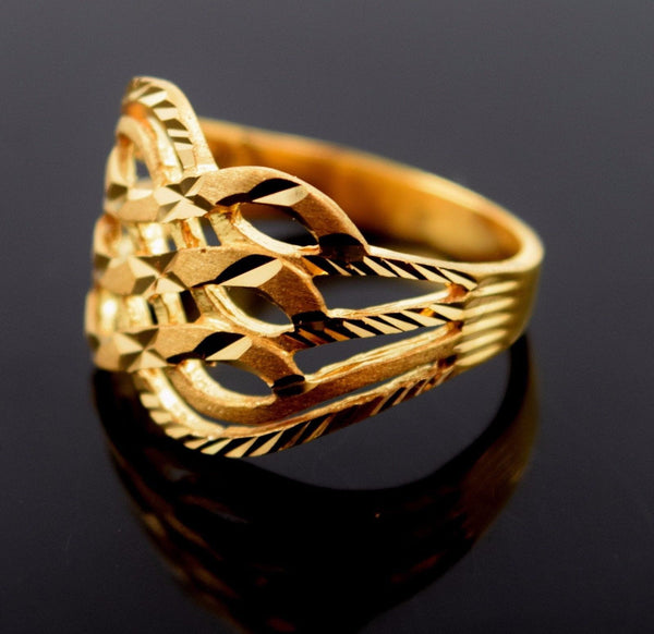 22k 22ct Solid Gold ELEGANT RING band with BOX FREE *RESIZING* R544 - Royal Dubai Jewellers
