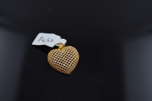 22k 22Ct Solid Gold ELEGANT STONE HEART Pendent P432 with unique box - Royal Dubai Jewellers