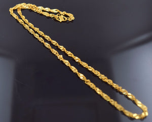 22k 22ct Solid Gold ELEGANT DISCO TWISTED CHAIN NECKLACE LENGHT:16 c537 - Royal Dubai Jewellers