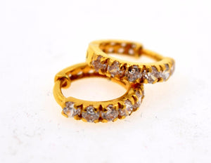 22k 22ct Solid Gold FANCY ZIRCONIA TINY HOOP BALI EARRING WITH BOX E2010 - Royal Dubai Jewellers