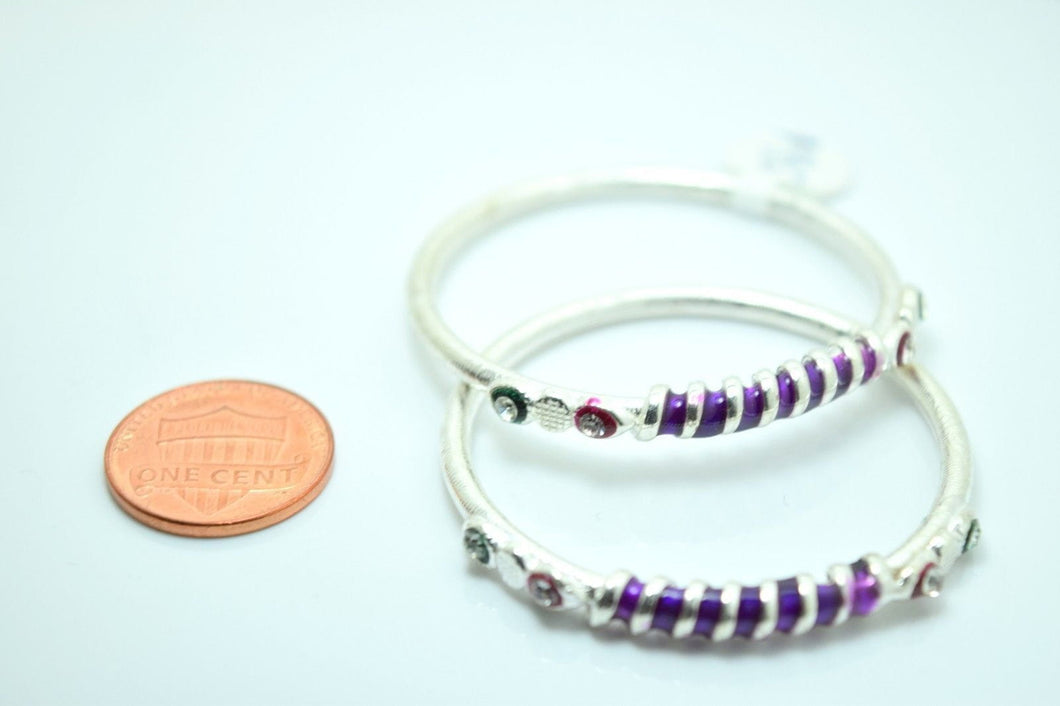 2PC HANDMADE Baby Solid Silver Bracelet 925 sb12 Sterling Children Bangle Cuff - Royal Dubai Jewellers