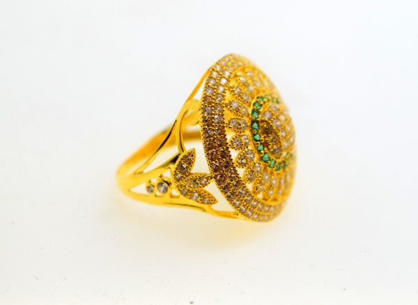 "22k 22ct Solid Gold Elegant STONE ROUND Ring size 7.5 ""FREE RESIZABLE"" r493 - Royal Dubai Jewellers"