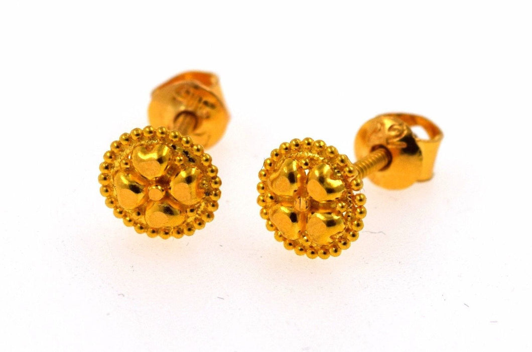 22k 22ct Solid Gold ELEGANT SMALL Earrings STUD with box E1130 - Royal Dubai Jewellers