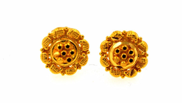 22k 22ct Solid Gold ELEGANT SMALL Earrings STUD with box E1137 - Royal Dubai Jewellers