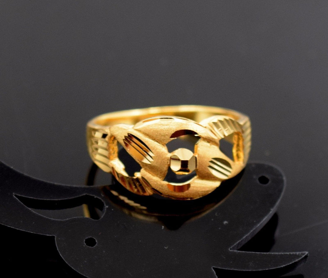 22k 22ct Solid Gold ELEGANT RING band with BOX FREE *RESIZING* R536 - Royal Dubai Jewellers