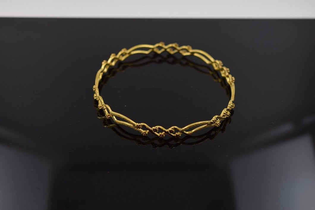 CUSTOM Handmade  22K SOLID GOLD BANGLE BRACELETS BRACELET Cuff pick your size - Royal Dubai Jewellers