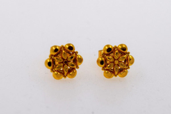 22k 22ct Solid Gold ELEGANT SMALL Earrings STUD with box E1136 - Royal Dubai Jewellers