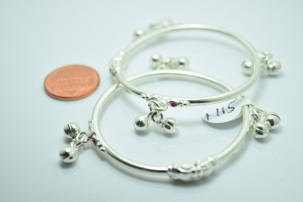 2PC HANDMADE Baby Solid Silver Bracelet 925 sb47 Sterling Children Bangle Cuff - Royal Dubai Jewellers