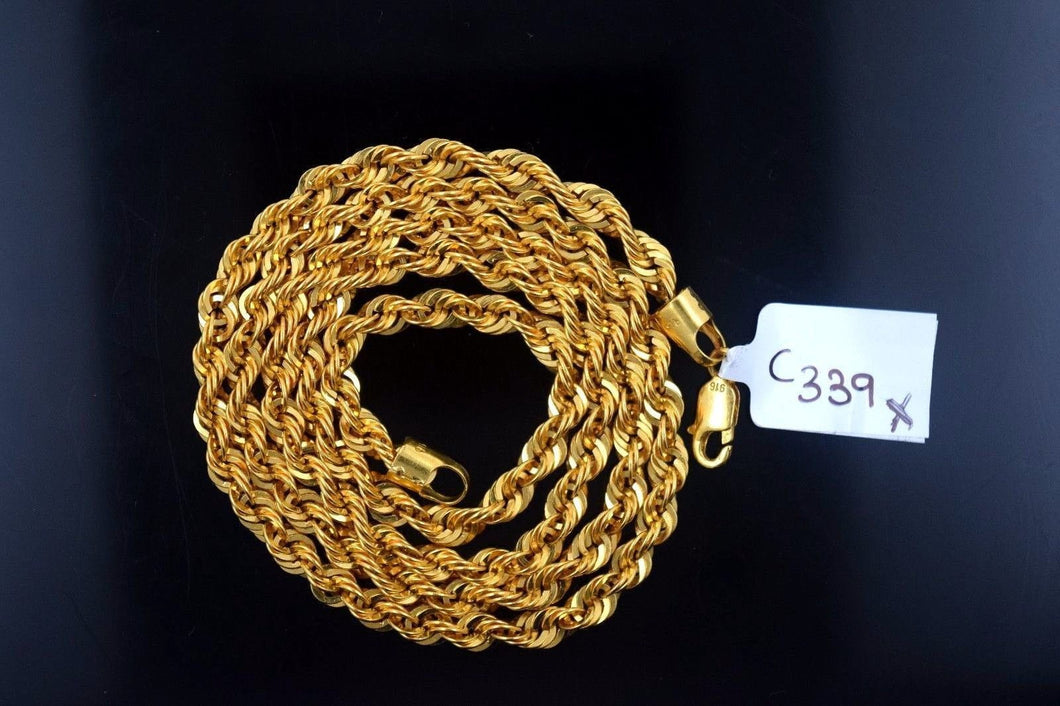22k 22ct Yellow Solid Gold ROPE Chain 20 inch