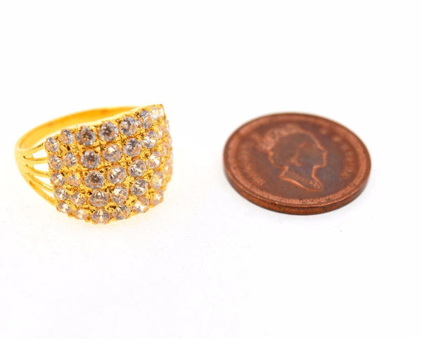 "22k 22ct Solid Gold ELEGANT STONE LADIES BAND Ring SIZE 6.8 ""RESIZABLE"" R666 - Royal Dubai Jewellers"