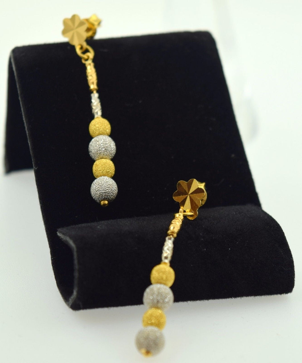 22k 22ct solid gold ELEGANT Long EARRINGS DANGLING HANGING FREE BOX E413 - Royal Dubai Jewellers