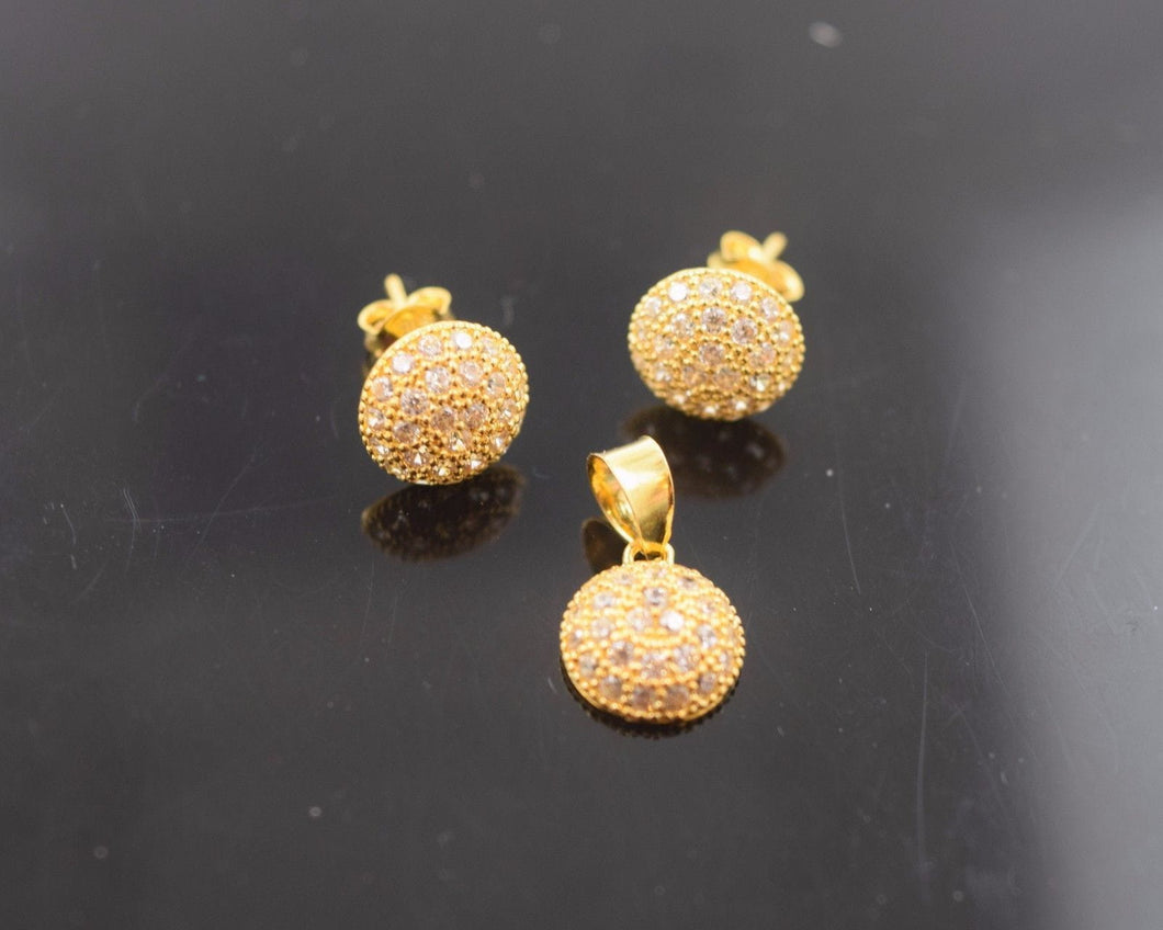 22k 22ct Solid Gold STONE ROUND SMALL PENDANT SET EARRINGS STUD WITH BOX p586 - Royal Dubai Jewellers
