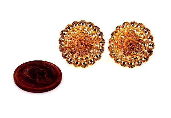 22k 22ct Solid Gold ELEGANT FLOWER Earrings STUD with BOX E1071 - Royal Dubai Jewellers