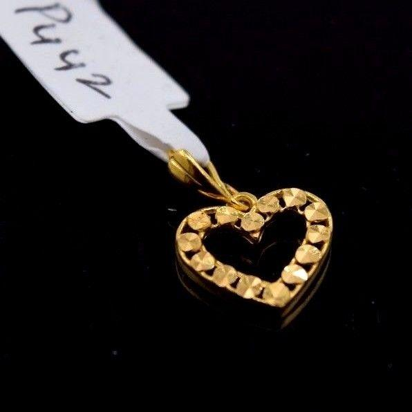 22k 22Ct Solid Gold ELEGANT HEART  Pendent P442 with unique box - Royal Dubai Jewellers