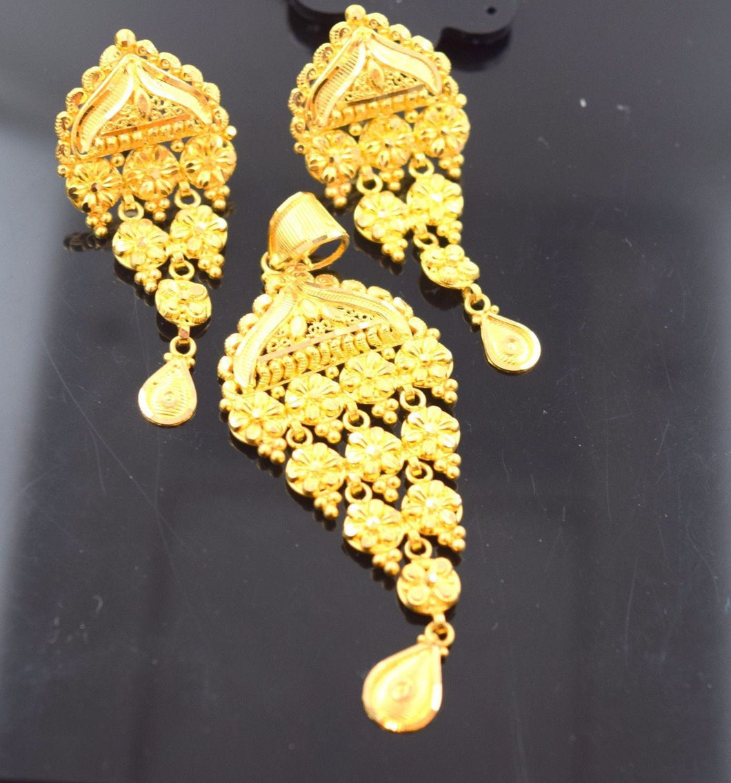 22k 22ct Solid Gold TRADITIONAL PENDANT SET LONG EARRINGS STUD WITH BOX S102 - Royal Dubai Jewellers