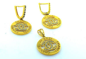 22k 22ct Solid Gold ELEGANT STONE CHANNEL Pendant Set EARRING S11 - Royal Dubai Jewellers