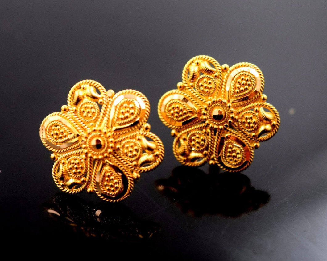 22k 22ct Solid Gold ELEGANT FLOWER Earrings STUD with BOX E1068 - Royal Dubai Jewellers