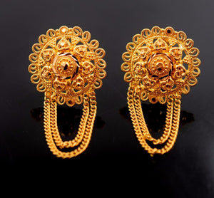 22k 22ct Solid Gold ELEGANT LONG FLOWER CHAIN Earrings STUD with BOX E1070 - Royal Dubai Jewellers
