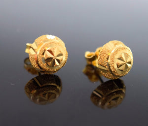 22k 22ct Solid Gold ELEGANT HALF BALL STUD LASER CUT EARRINGS with BOX E2035 - Royal Dubai Jewellers