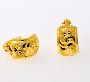 22k 22ct Solid Gold ELEGANT  CLIP ON LASER CUT  EARRINGS with free box E2021 - Royal Dubai Jewellers