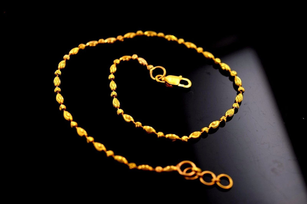 22k 22ct Solid Gold ELEGANT ANKLETS PAYAL  with unique BOX  B347 - Royal Dubai Jewellers