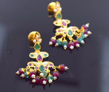 22k 22ct Solid Gold ELEGANT RUBY EMERALD PEARL STONE HANGING EARRING  e1349 - Royal Dubai Jewellers