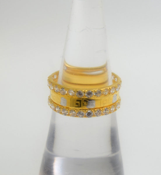 "22k 22ct Solid Gold Elegant STONE BAND Ring size 6.5 ""FREE RESIZABLE"" r444 - Royal Dubai Jewellers"