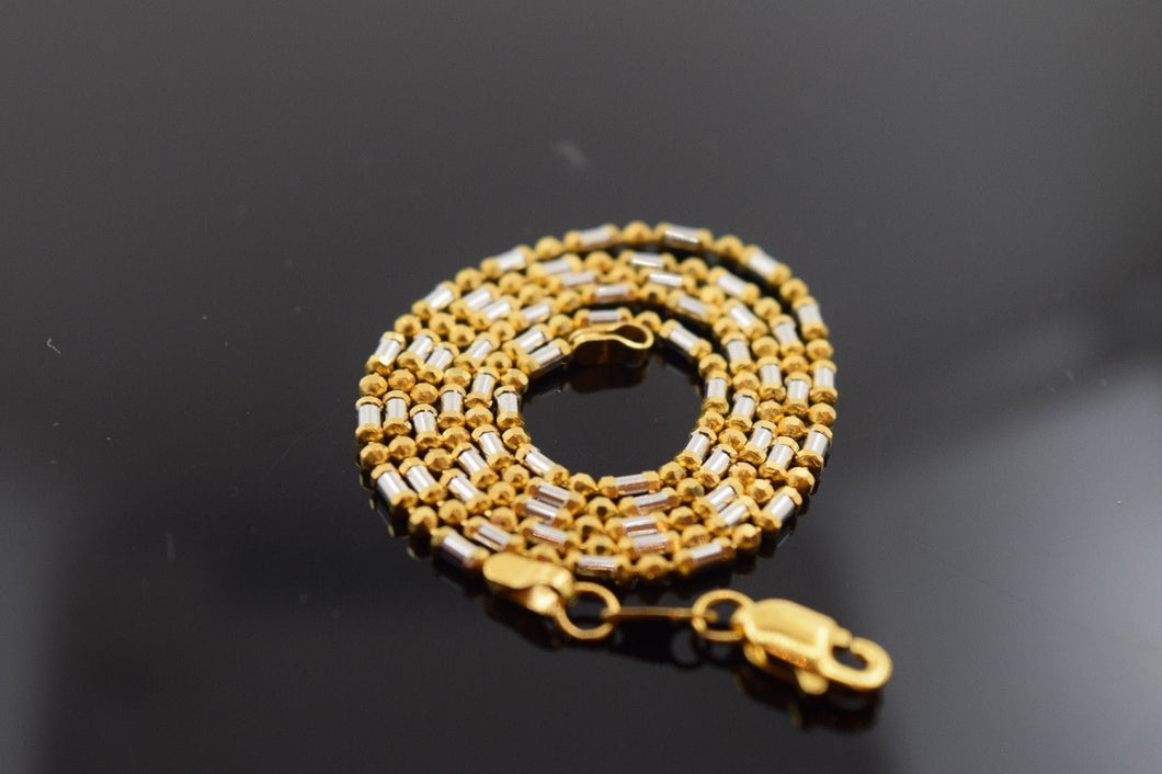 22k Yellow Solid ELEGANT Gold Chain Necklace 1.7mm c142 white diamond cut box - Royal Dubai Jewellers