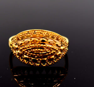 "22k 22ct Solid Gold ELEGANT LADIES BAND Ring SIZE 6.5 ""RESIZABLE"" R662 - Royal Dubai Jewellers"