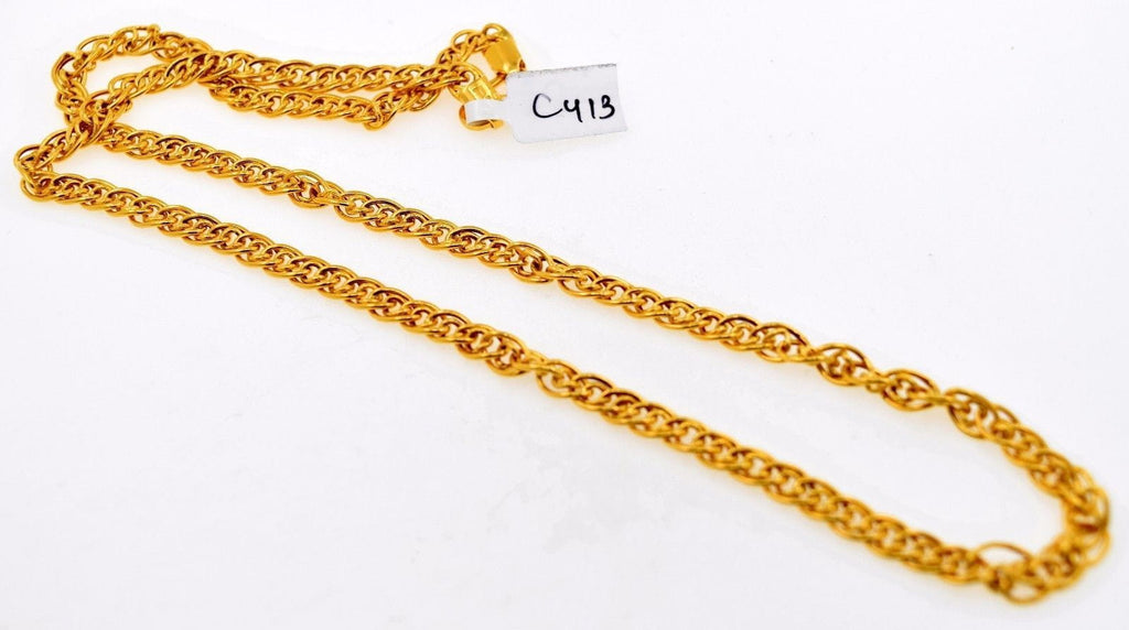 22k 22ct Solid Gold DESIGNER DOUBLE STYLISH CURB MEN THIN CHAIN LENGHT