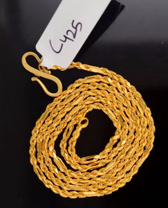 "22k 22ct Yellow Solid GOLD ROPE TWIST STRONG Chain Necklace LENGHT 20""c425 - Royal Dubai Jewellers"