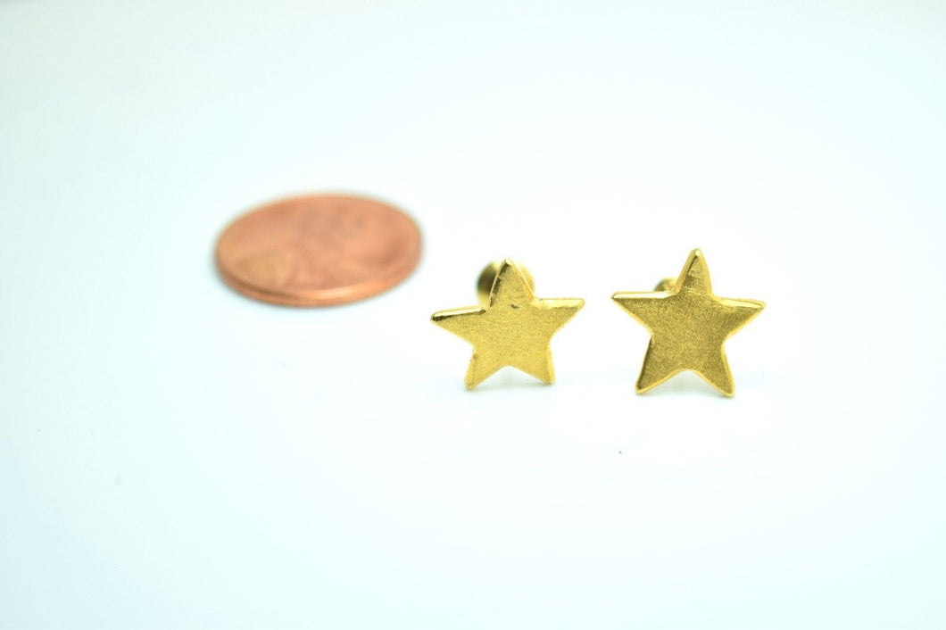 22k 22ct solid gold ELEGANT STAR EARRINGS STUD WITH  FREE BOX mf - Royal Dubai Jewellers