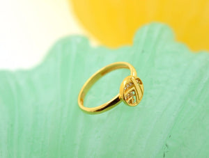 "22k 22ct Solid Gold CUTE ROUND ZIRCONIA BABY KID Ring ""RESIZABLE"" size 4.2 r749 - Royal Dubai Jewellers"