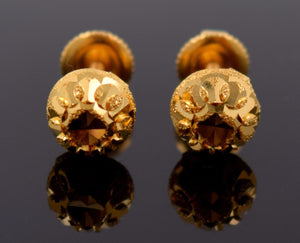 22k 22ct Solid YELLOW GOLD HALF BALL GLIMMER LASER CUT STUD EARRINGS E1251 - Royal Dubai Jewellers