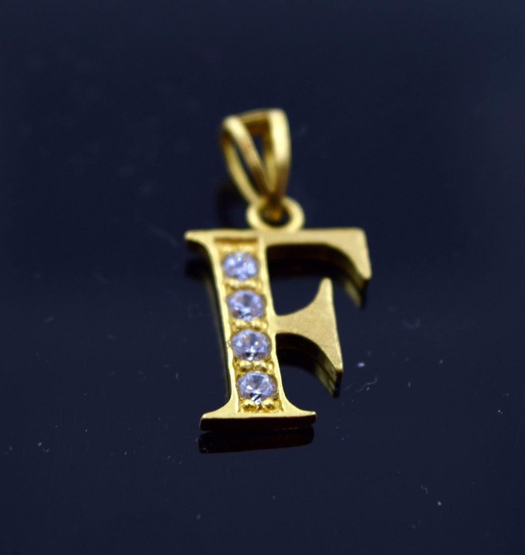 22k 22ct Solid Gold Letter Shape Pendent F letter pf2 - Royal Dubai Jewellers