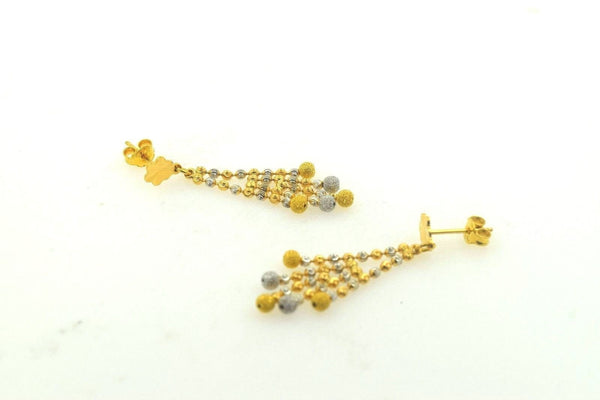 22k 22ct Solid Gold ELEGANT LONG EARRINGS with free box E585 - Royal Dubai Jewellers
