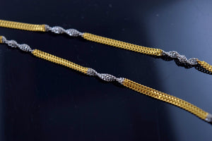 22k 22ct Yellow Solid Gold rhodium HALF PLAIN TWISTED SHINNY CHAIN NECKLACE c482 - Royal Dubai Jewellers