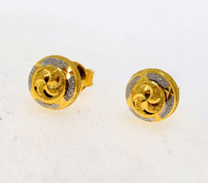 22k 22ct Solid Gold ELEGANT HALF BALL STUD RHODIUM LASER CUT EARRINGS E2032 - Royal Dubai Jewellers