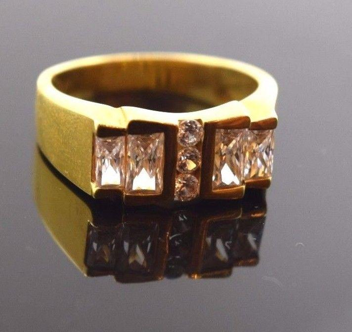 22k 22ct Solid Gold ELEGANT STONE MENS Ring BAND with box