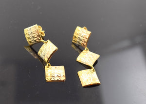 22k 22ct Solid Gold ELEGANT LONG EARRINGS HANGINGS with free box E548 - Royal Dubai Jewellers