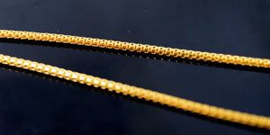 22k 22ct Solid Gold ELEGANT SKINNY BOX ROUND FANCY CHAIN NECKLACE LENGHT:20 c542 - Royal Dubai Jewellers