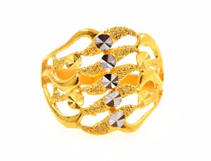 "22k 22ct Solid Gold ELEGANT STONE LADIES BAND Ring SIZE 10.0""RESIZABLE"" R668 - Royal Dubai Jewellers"