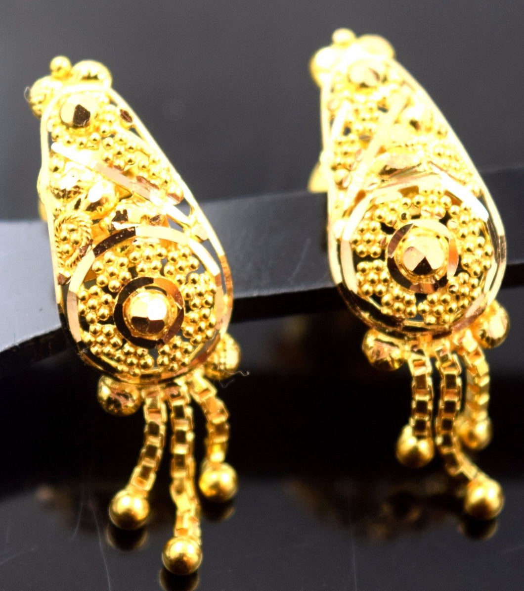 22k 22ct Solid Gold ELEGANT LONG Earrings STUD with box E1127 - Royal Dubai Jewellers