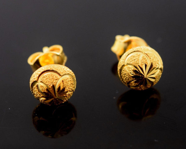 22k 22ct Solid Gold ELEGANT HALF BALL STUD LASER CUT EARRINGS with BOX E2028 - Royal Dubai Jewellers